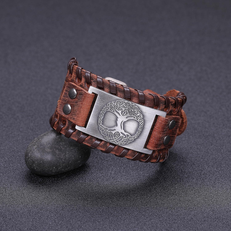 Pulsera de Cuero Marr/ón con Dise/ño de Amuleto Vintage y Nudo Celta de Yggdrasil VASSAGO