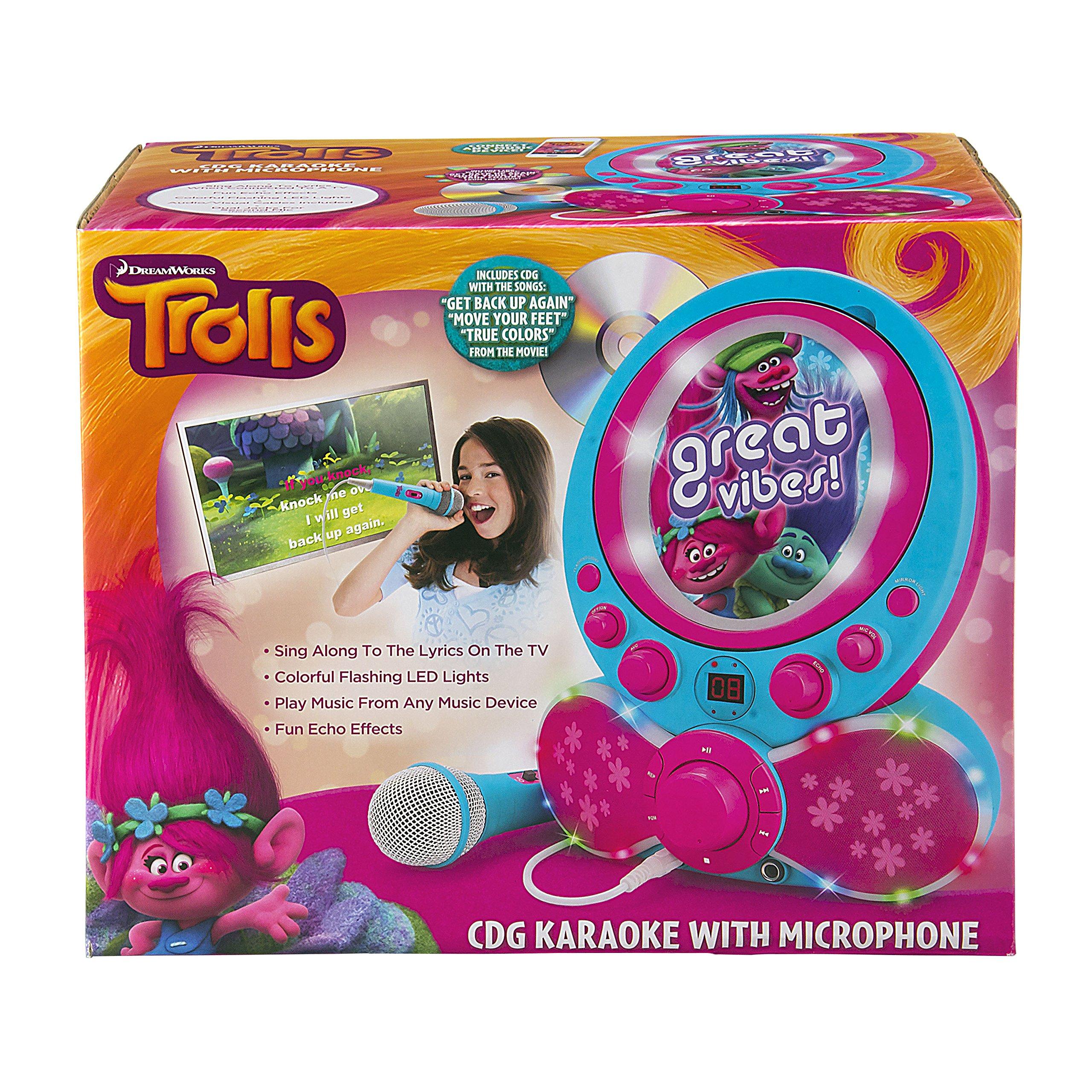 KIDdesigns Trolls CDG Karaoke Machine CD Player with Microphone by KIDdesigns (Image #4)