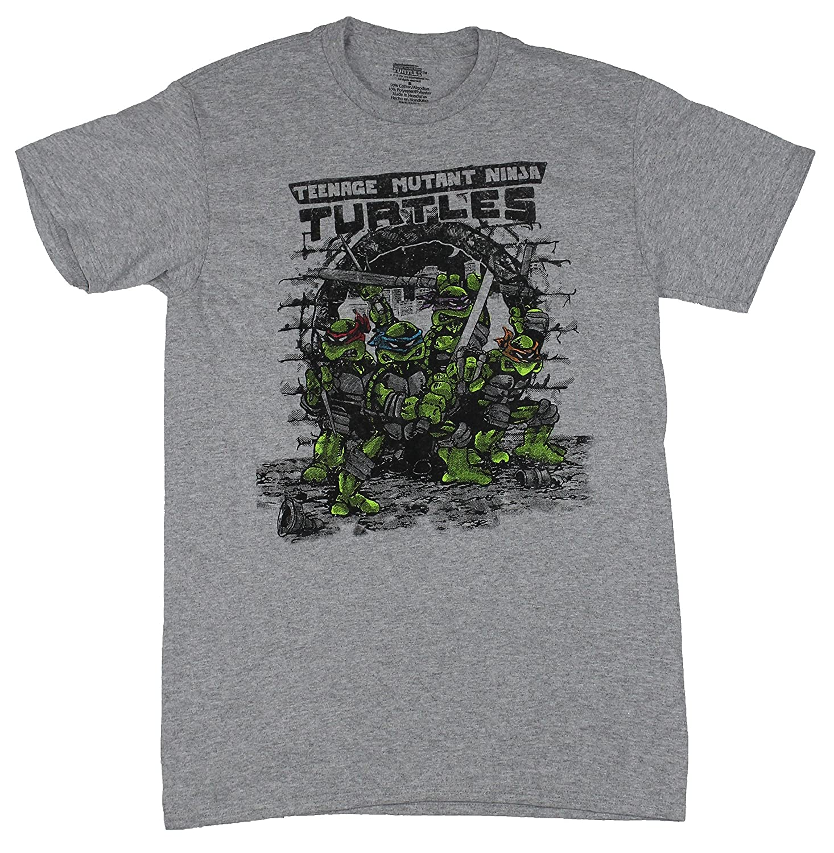 Teenage Mutant Ninja Turtles Mens T-Shirt - Distressed Eastman Style Sewer Pose