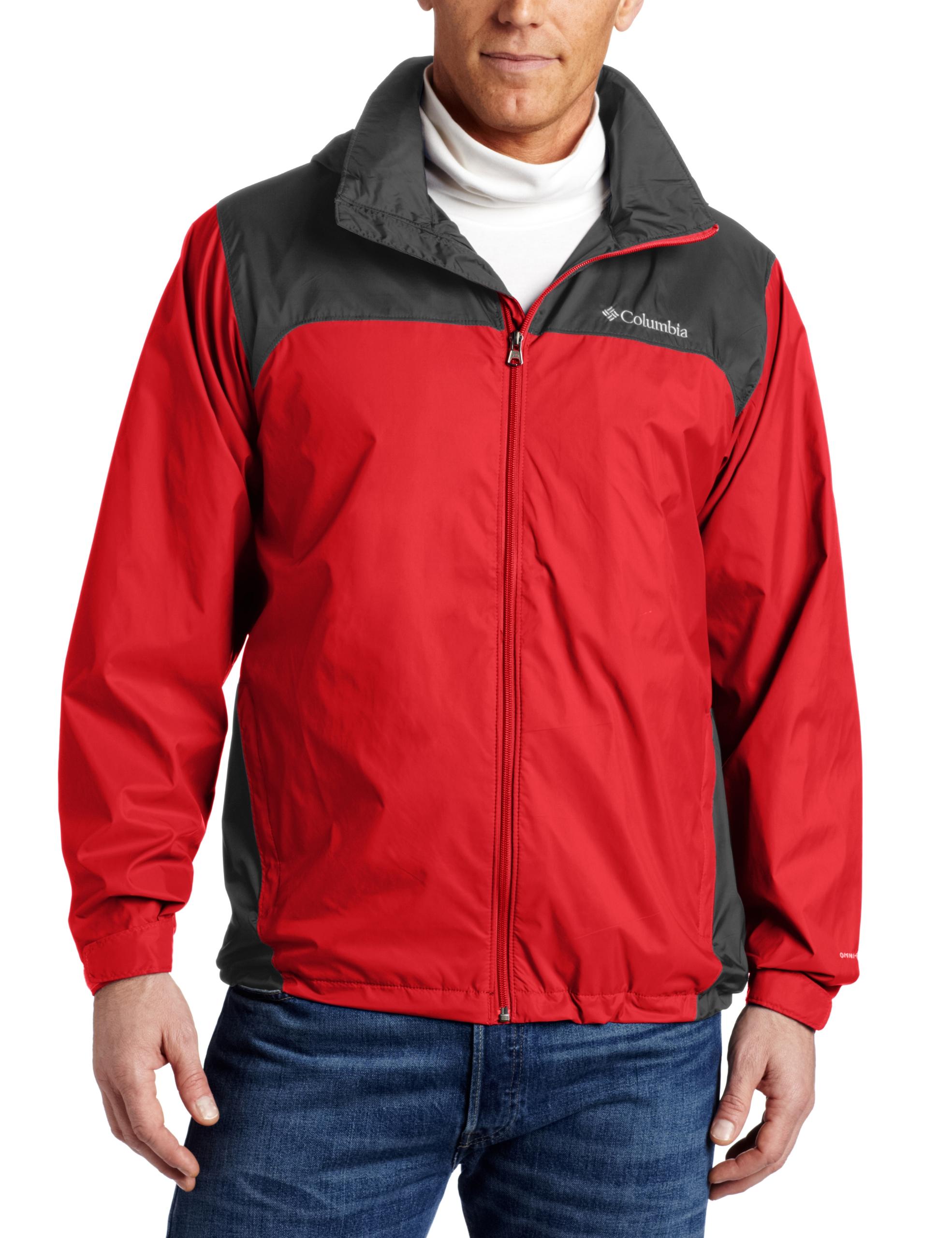Columbia Men's Big & Tall Glennaker Lake Packable Rain Jacket,Bright Red/Grill,Tall/Large