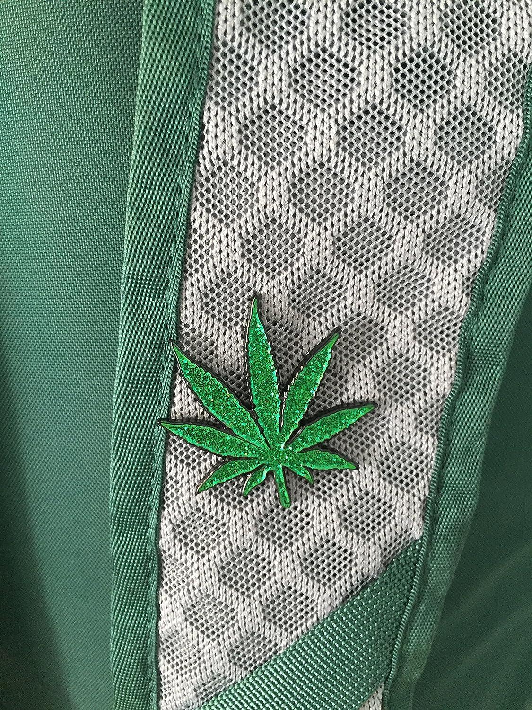 Pot Leaf GLITTER Enamel Lapel Pin Cannabis Marijuana Gift 420 1.5