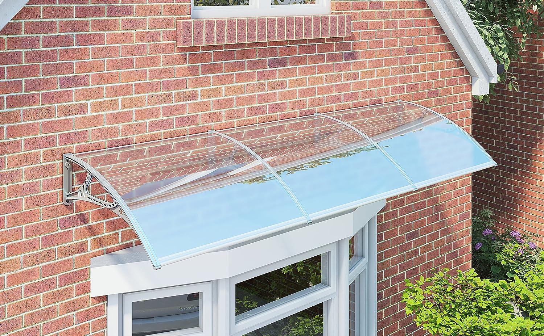 275 x 90 cm auvent de porte entr e marquise porte terrasse toit transparent songmics gvh279. Black Bedroom Furniture Sets. Home Design Ideas