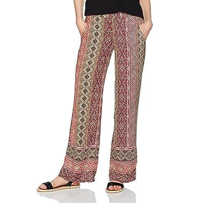 A. Byer Women's Border Print Woven Wide Leg Pant, pat j, S: Clothing