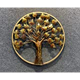 Maple Craft Metal Handmade Golden Round Frame Tree Wall Art Mounted Hanging Art Sculpture Modern Arts for Home Decor/Living Room/Home & Office/Restaurant (Size 22 X 22 Inch)