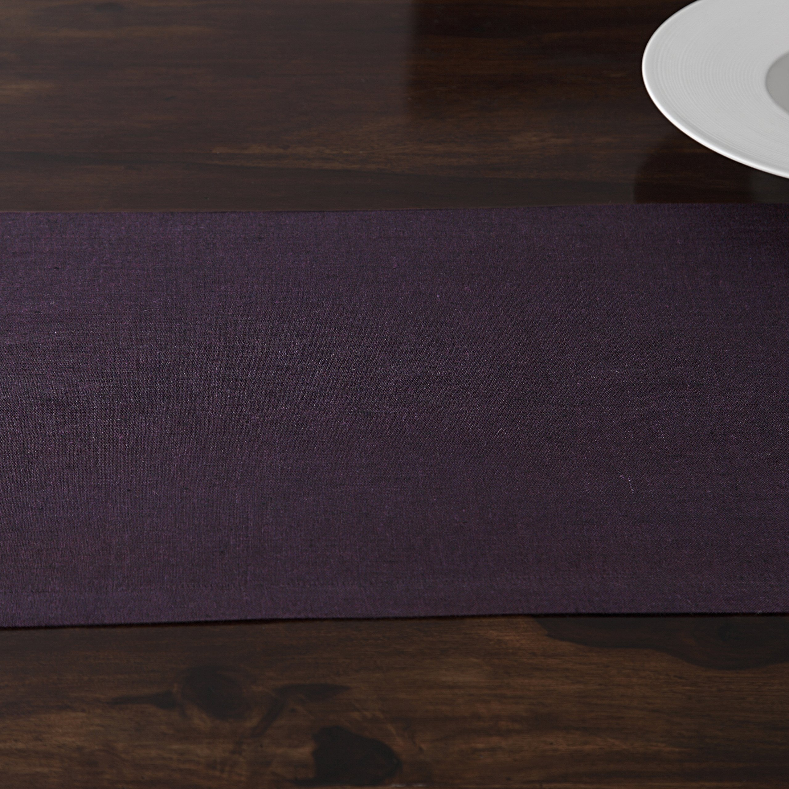 Solino Home 100% Pure Linen Table Runner Athena, Natural Fabric Handcrafted Runner, Purple 14 x 36 Inch by Solino Home (Image #4)