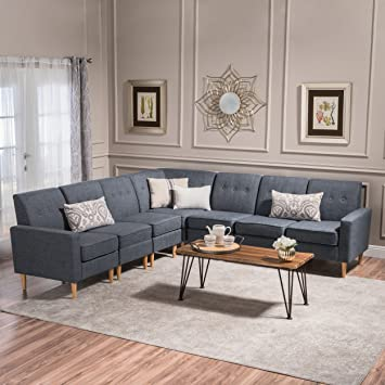 Christopher Knight Home 302725 7 Piece Sawyer Mid Century Modern Fabric  Sectional Sofa Set, Grey and Natural