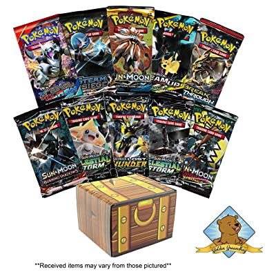 Pokemon TCG: 10 Booster Packs - 100 Cards Total! Includes Golden Groundhog Treasure Chest Storage Box!: Toys & Games