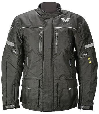 MARUTTI Giacca Moto da Motociclista da Uomo Impermeabile per Tutte Le Stagioni Cappotto Lungo in Tessuto Cordura in Nero Rosso