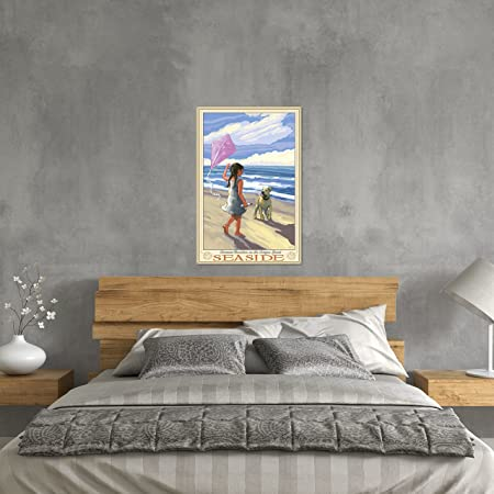 Amazon.com: Northwest Art Mall Seaside Girl Dog Beach Metal Art Print by Joanne Kollman (24