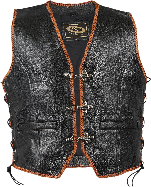 Rocker Weste mit orangen Kordeln Lederkutte Clubweste Motorrad Weste Weste f/ür Club Logos, Kutte Bikerweste an den Seiten geschn/ürt