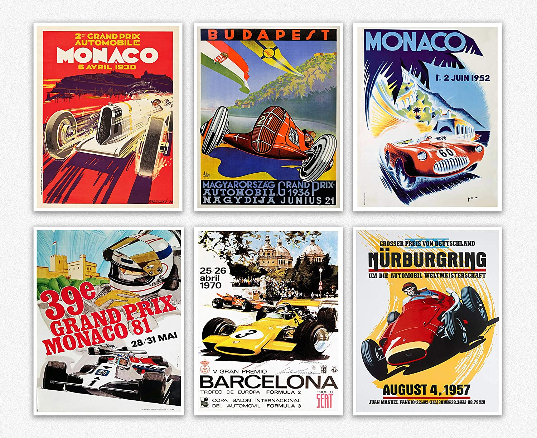 Wallbuddy Set of 6 Car Racing Grand Prix Posters F1 Poster Formula 1 Poster Car Racing Print Motor Racing Poster 1930, 1936, 1937, 1952, 1966, 1970 (5 x 7)