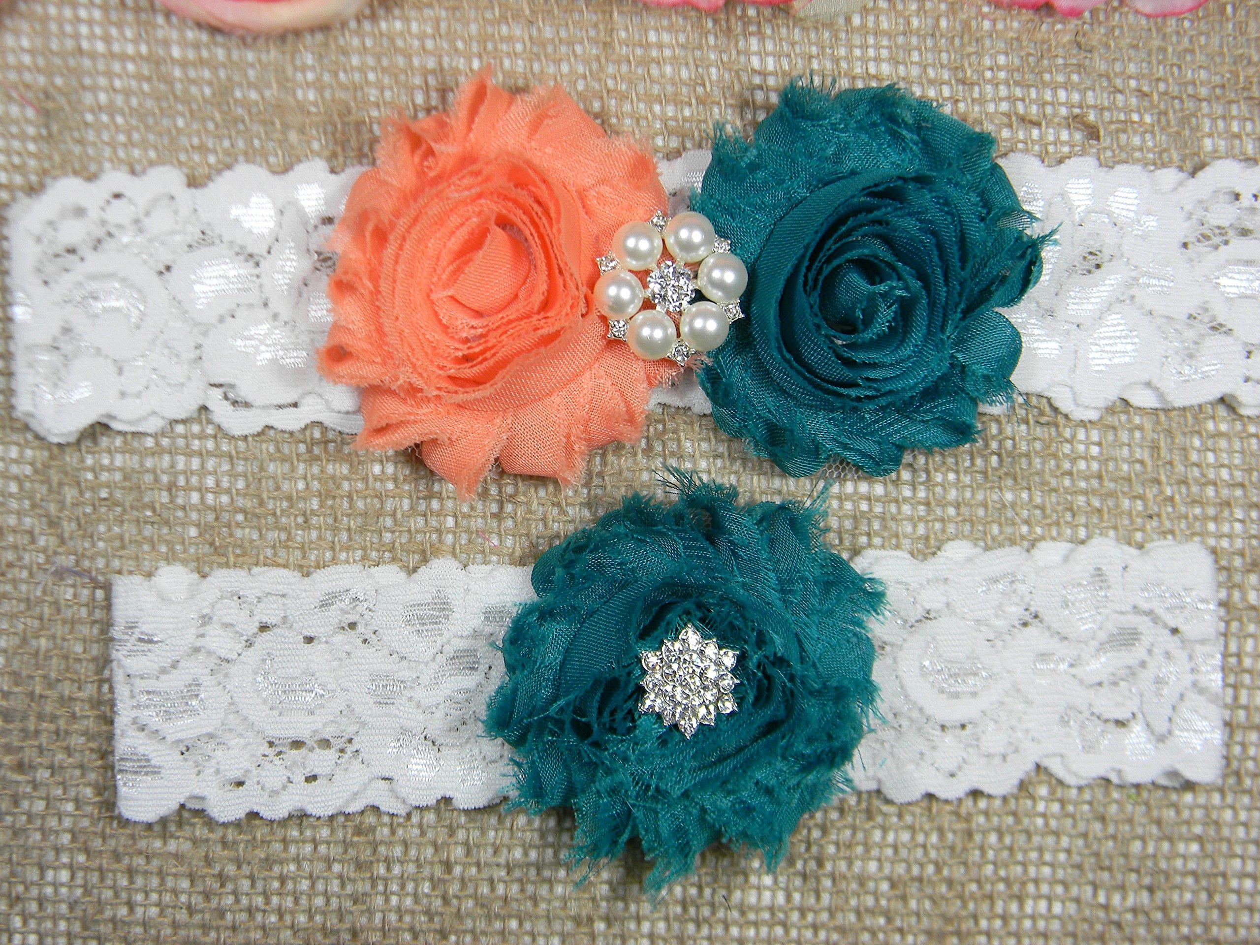 Wedding Garter Set, Bridal Garter Belt, Peach and Teal Garter, Keepsake and Toss Stretch Lace Garters