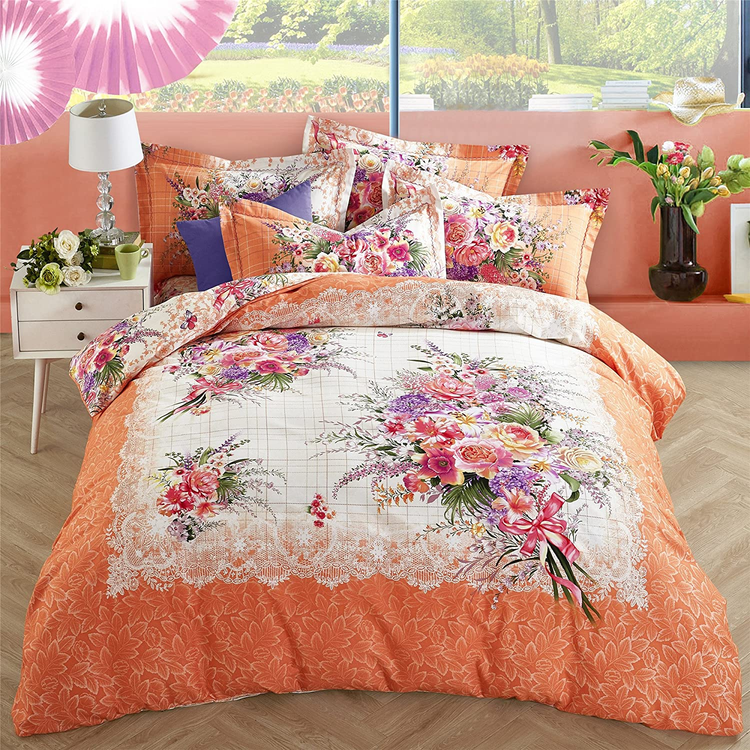 Elegant 4 Piece Various Vibrant Blooming Floral Printed Duvet Cover Set Cotton Hypoallergenic Style Bedding Sets/Collections
