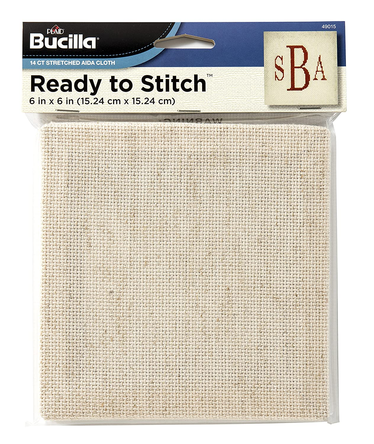 Bucilla Ready to Stitch Aida Cloth, 6 by 6-Inch, Natural Plaid Inc. 49015