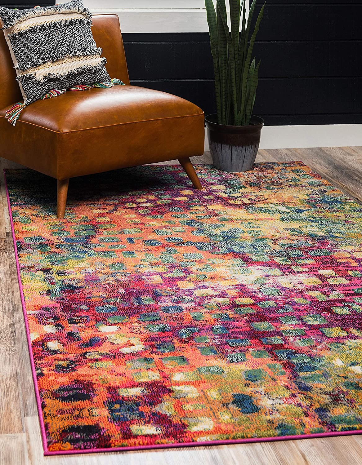 Unique Loom Jardin Collection Colorful Abstract Multi Area Rug (4' 0 x 6' 0)