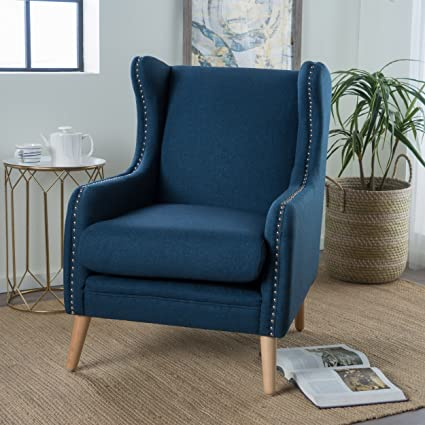 Rosella | Wingback Club Chair with Studded Accents | in Navy Blue