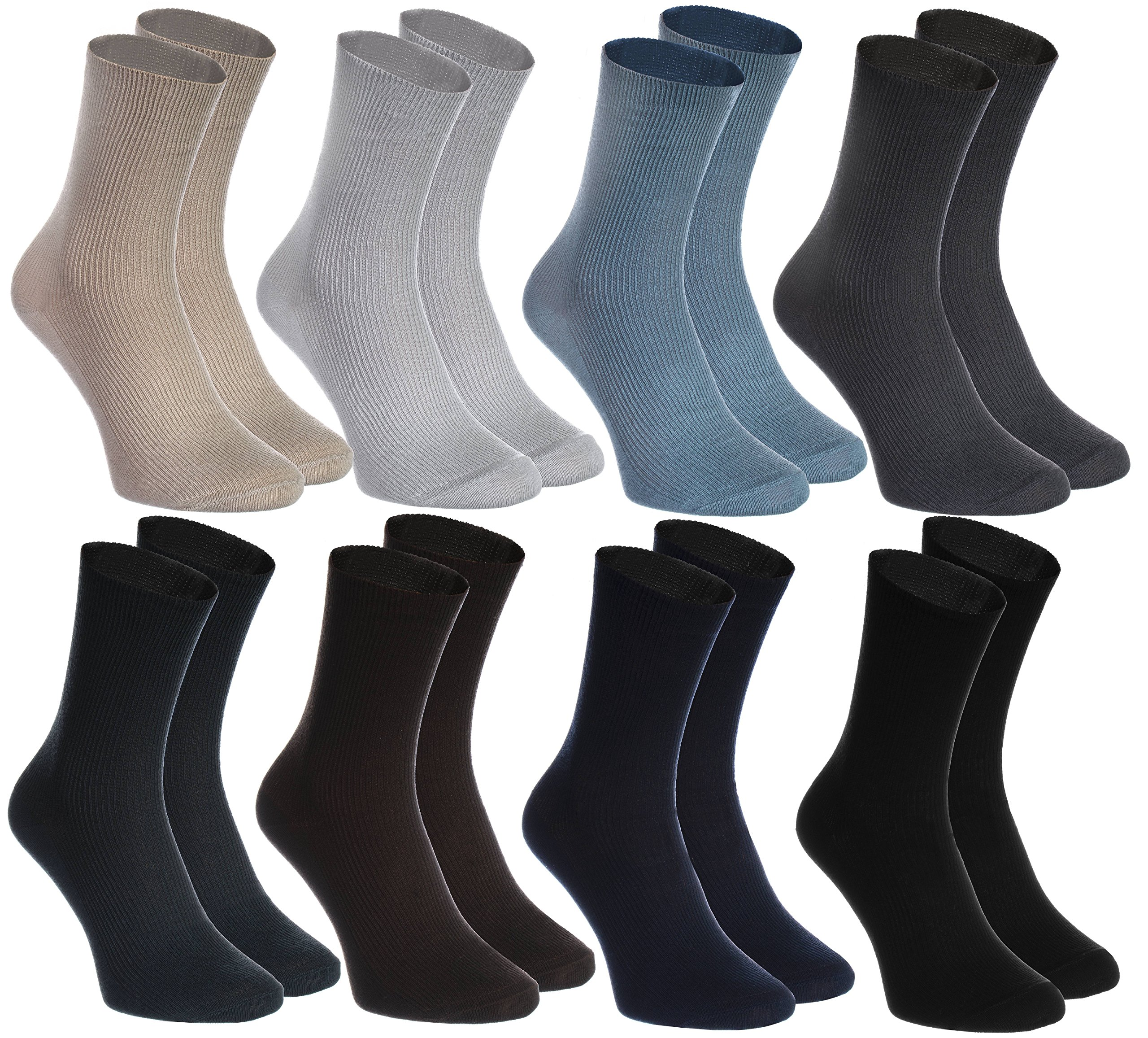 8 pairs of DIABETIC Non-Elastic Cotton Socks for SWOLLEN FEET, Classic Colors M by Rainbow Socks