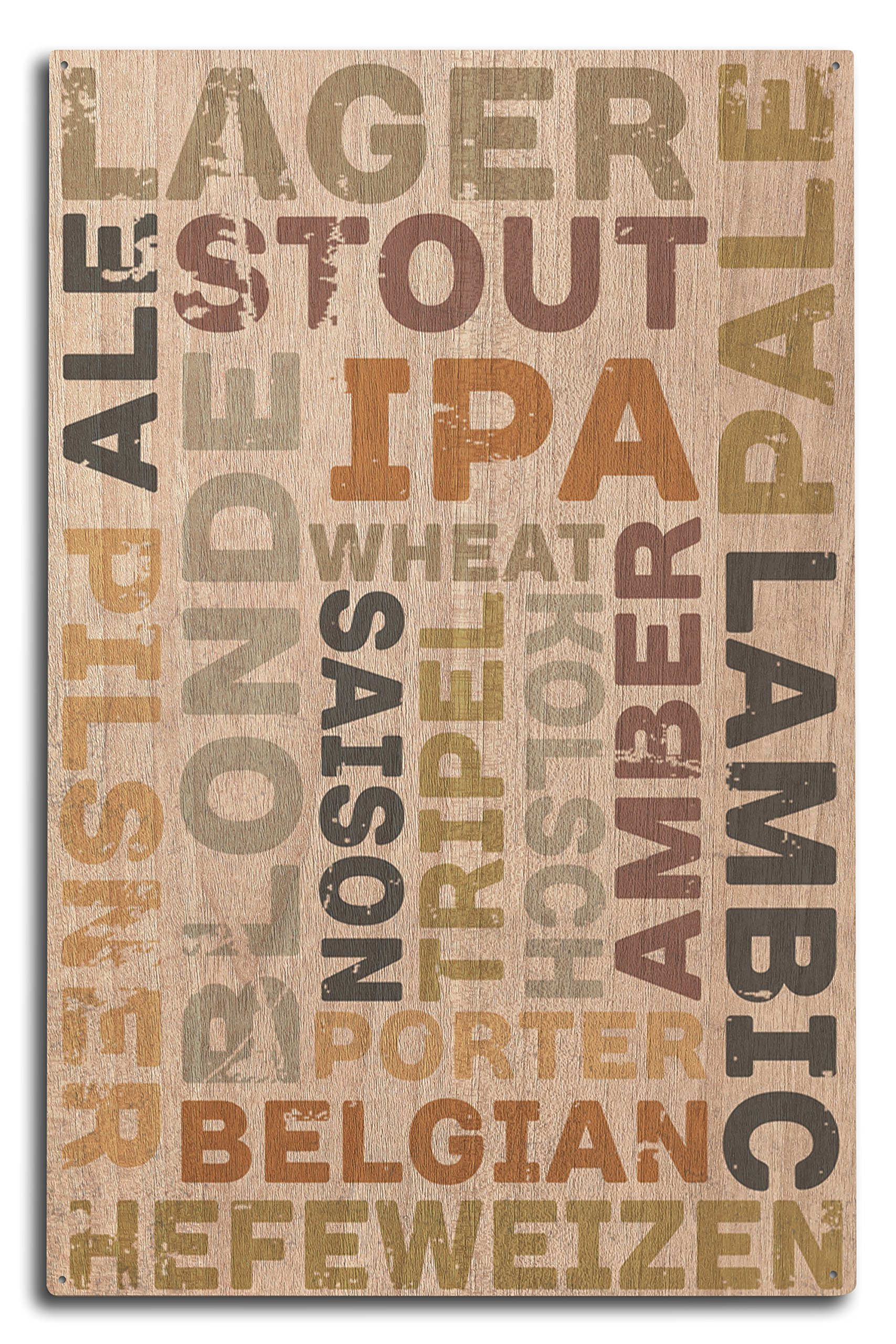 Lantern Press Beer Typography - Types of Beer (10x15 Wood Wall Sign, Wall Decor Ready to Hang)