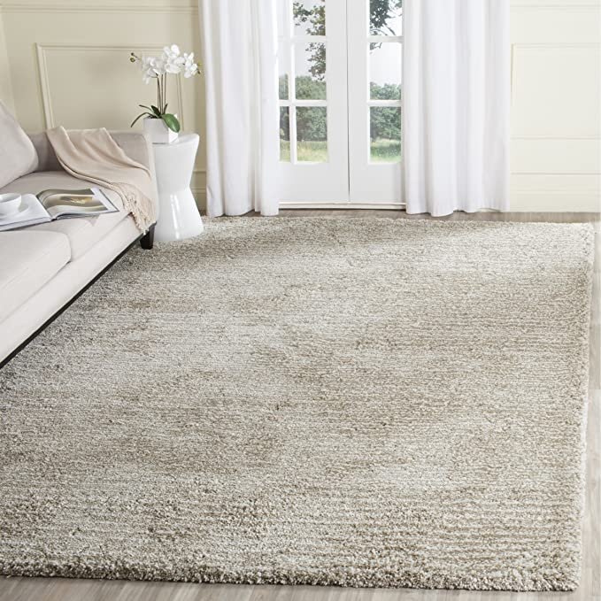 Safavieh Ultimate Shag Collection Sgu211 C Handmade Sand Ivory Polyester Area Rug (8' X 10') by Safavieh