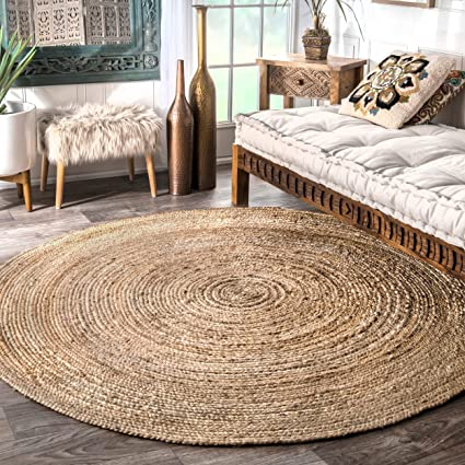 Round Table Round Rug.Nuloom Handwoven Rigo Jute Rug 8 Round Natural