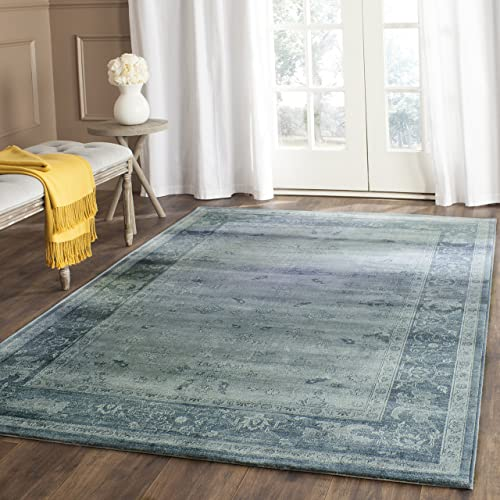 Safavieh Vintage Premium Collection VTG245B Transitional Oriental Light Blue and Dark Blue Distressed Silky Viscose Area Rug 9 x 12