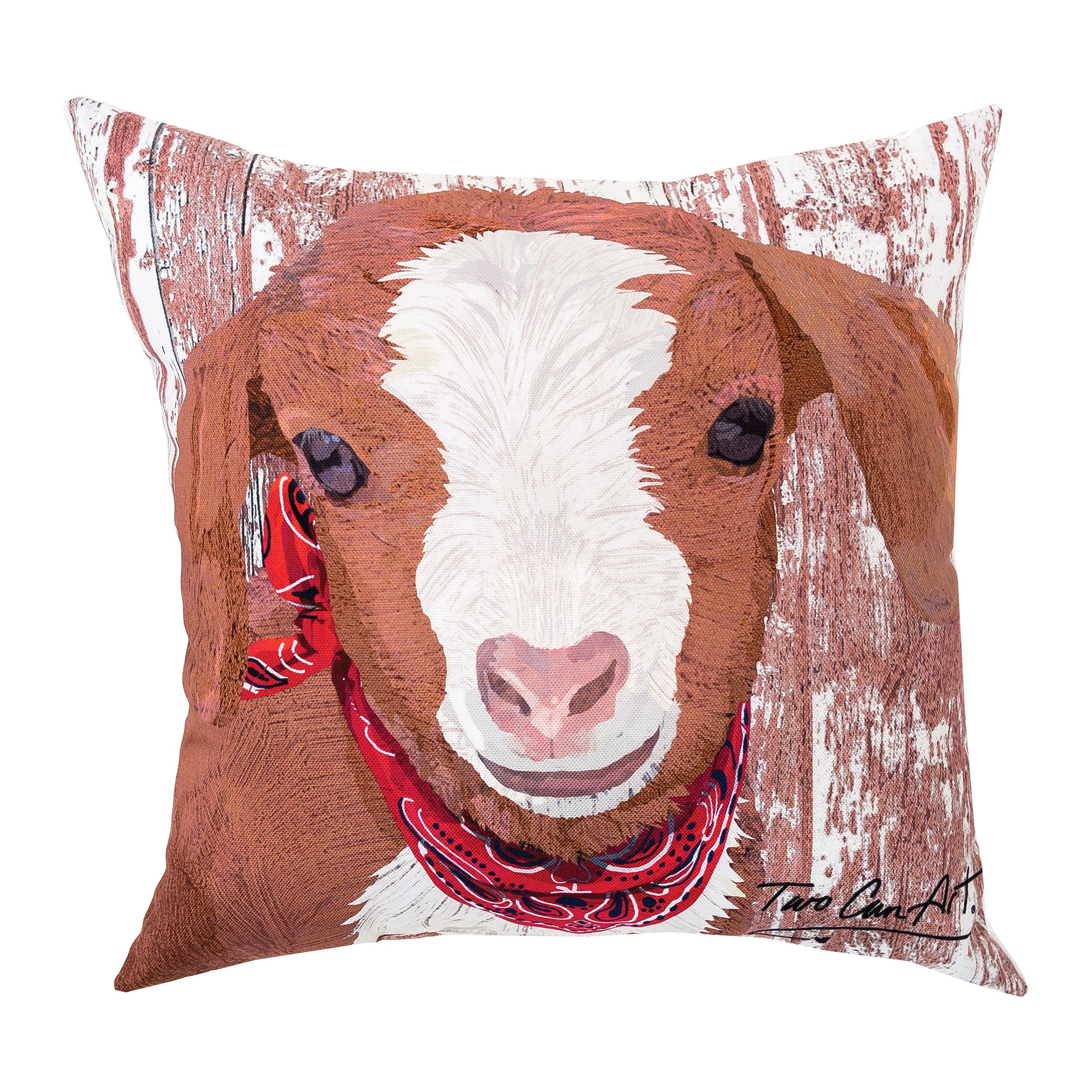 C&F Home Goat Indoor/Outdoor Pillow 18 x 18 White by C&F Home