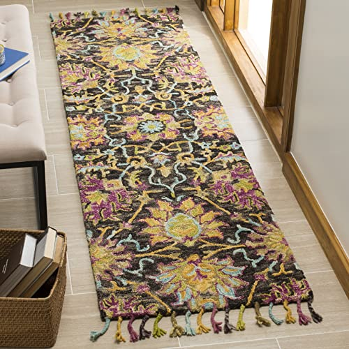 Safavieh Blossom Collection Floral Vines Premium Wool Area Rug, 2 x 3 , Charcoal Multicolored