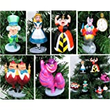 """Alice in Wonderland 6 Piece Christmas Tree Ornament Set Featuring Alice, White Rabbit, Cheshire Cat, Queen of Hearts, Mad Hatter, and Tweedle Dum & Tweedle Dee - Shatterproof Design 3"""" to 4"""" Tall"""