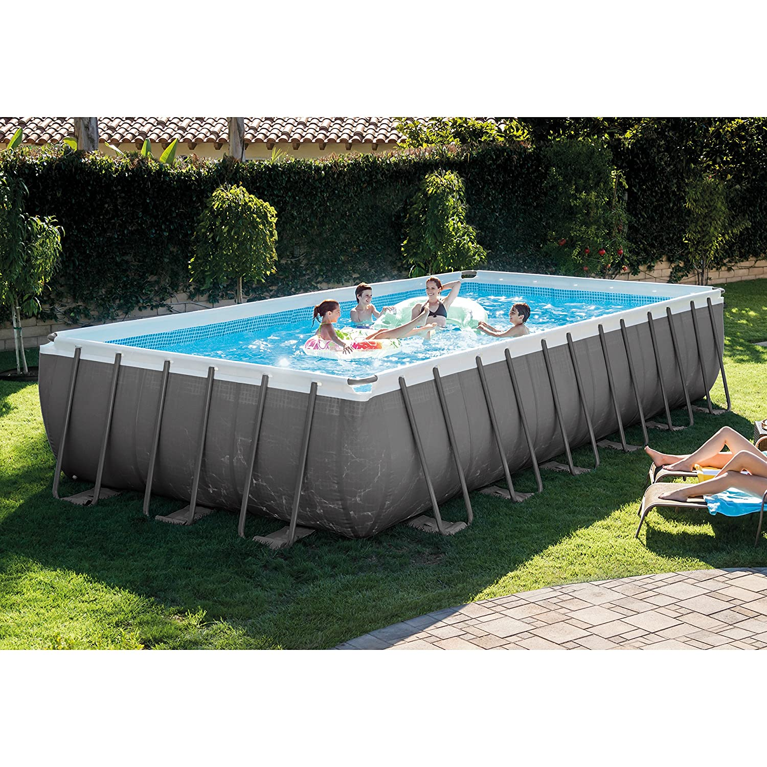 Best above ground pool set Intex 24ft X 12ft X 52in Best rectangular above ground pools