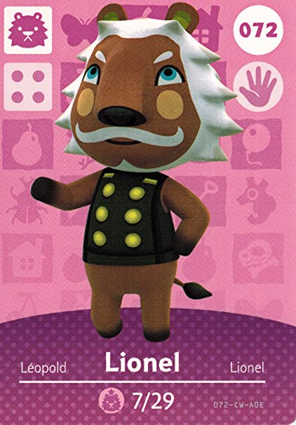 Animal Crossing Happy Home Designer amiibo tarjeta Lionel ...