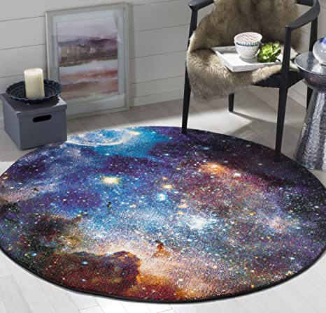 Amazon Com Safavieh Galaxy Collection Gal109p Abstract Non Shedding Stain Resistant Living Room Bedroom Area Rug 5 3 X 5 3 Round Purple Multi Furniture Decor