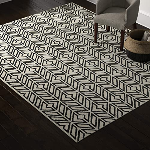 Rivet Contemporary Handtufted Cotton-and-Wool Rug with Geometric Feathered Pattern, 8 x 10 , Black and Cream