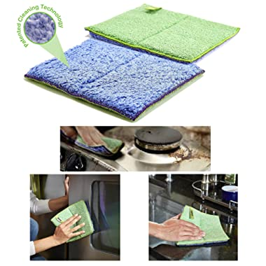 Pure-Sky Kitchen Cleaning Scrubbing Pads - JUST ADD Water No Detergents Needed – Ultra-Microfiber Cloth - for Stubborn Stains Around Sinks, Stovetop, Countertop – Removing Grease with Water