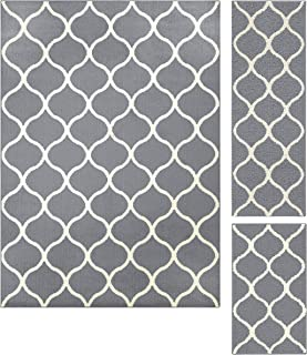 product image for Maples Rugs Rebecca Contemporary Area Rugs Set for Living Room & Bedroom [Made in USA], 3pc, Grey/White