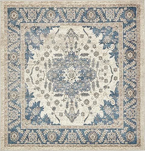 Unique Loom Salzburg Collection Traditional Oriental Cream Square Rug 5 0 x 5 0