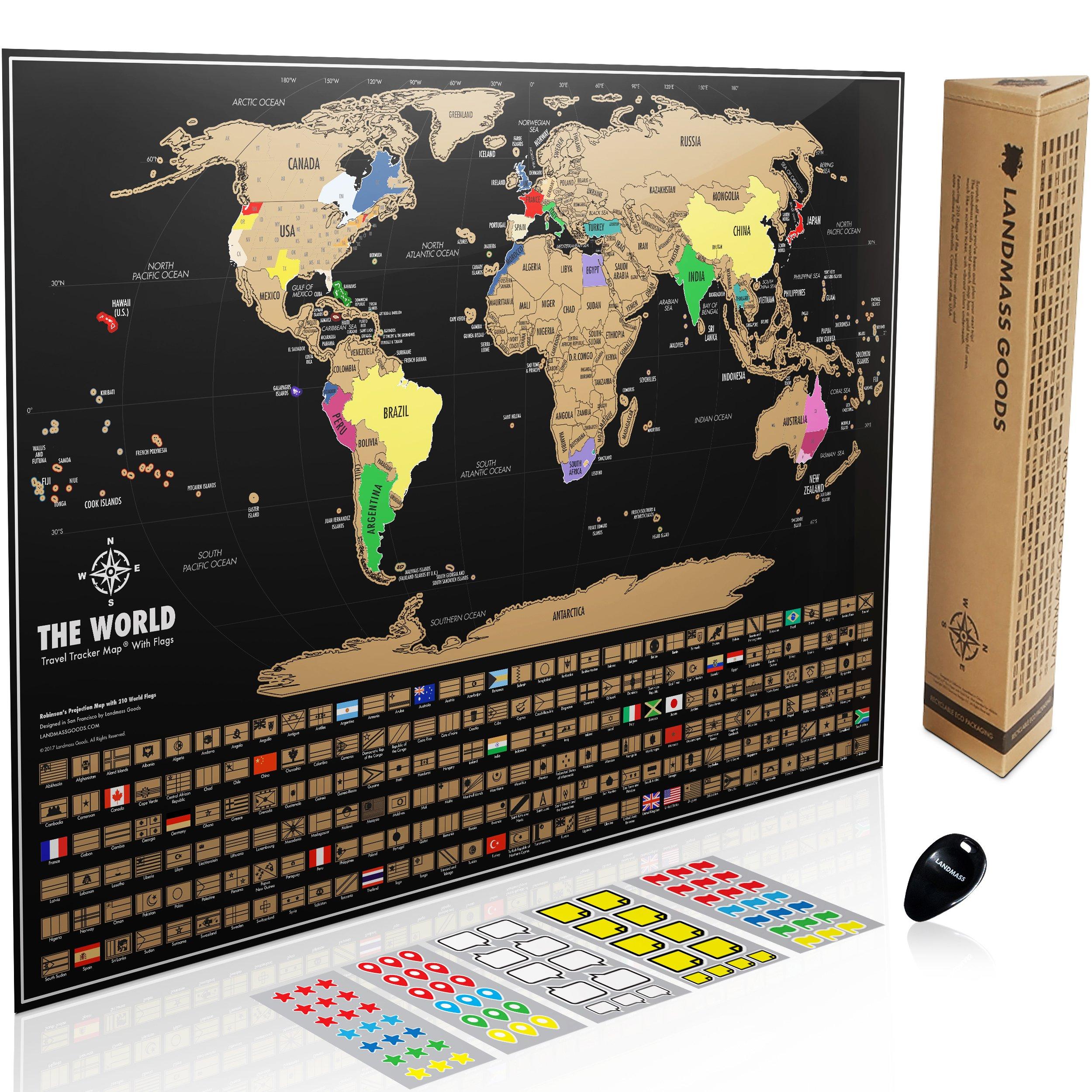 Scratch Off World Map Landmass Scratch Off World Map Poster. Original Travel Tracker Map  Scratch Off World Map