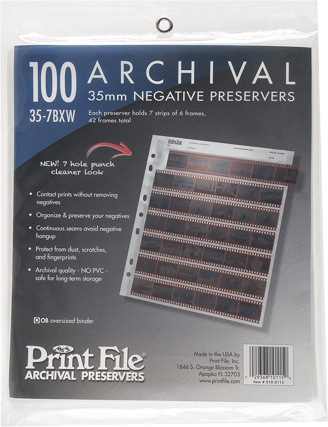 Print File 35mm Size Archival Storage Pages for Negatives 25 Pack x 2 6-Strips of 6-Frames