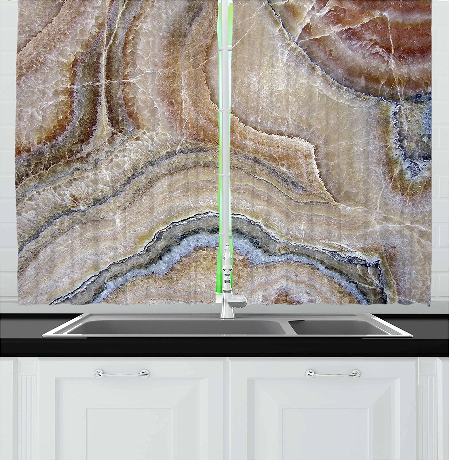 """Ambesonne Marble Kitchen Curtains, Surreal Onyx Stone Surface Pattern Pale Blue Details Picture, Window Drapes 2 Panel Set for Kitchen Cafe Decor, 55"""" X 39"""", Cinnamon Grey"""