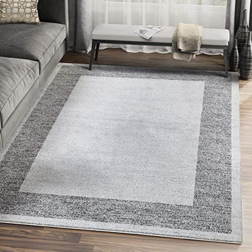 7' 9″ x 10' 2″ Modern Grey Turkish Area Rug w/Simple Border Contemporary Style Design