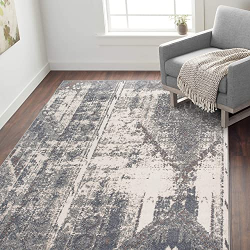 Rugshop Newbury Collection Distressed Contemporary Bohemian Area Rug 7'10″ x 10' Gray