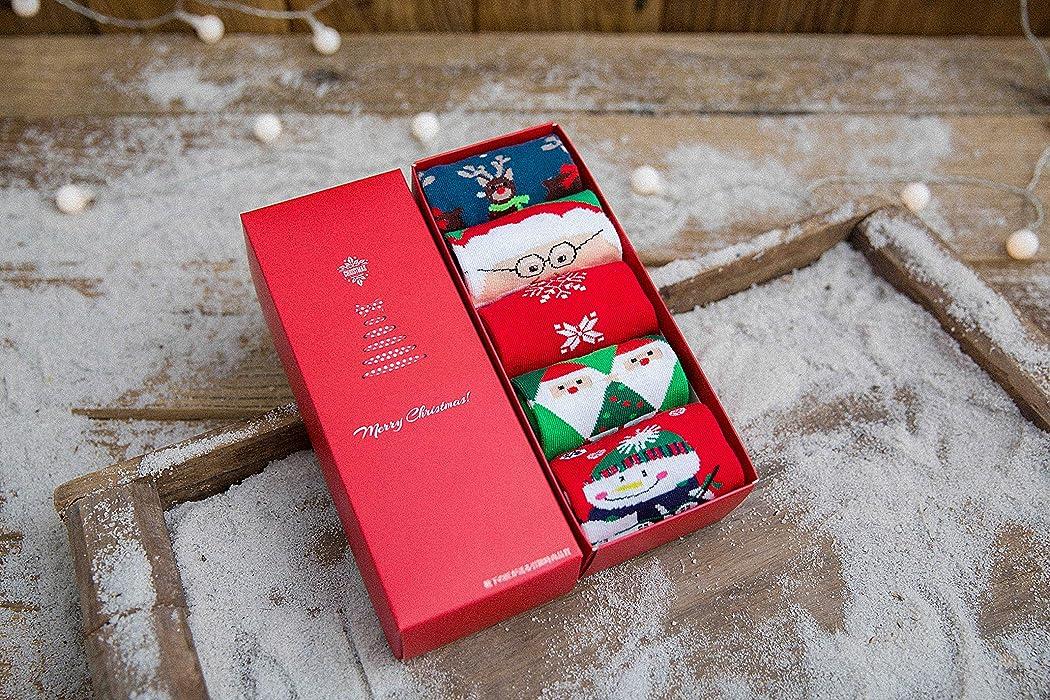 Morbuy Calcetines de Navidad, Set de calcetín de 5 pares Caja De Regalo Para Mujer Hombres Invierno Calcetines Suaves del día de Fiesta de las Navidades del ...