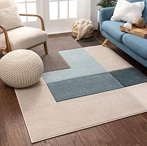 Well Woven Connie Multi Modern Geometric Boxes Pattern Area Rug 5×7 5 3 x 7 3