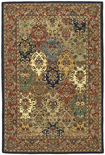 Safavieh Heritage Collection HG911A Handmade Traditional Oriental Multi and Burgundy Wool Area Rug 5 x 8