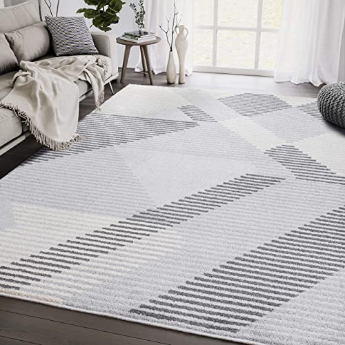 Contemporary Grey Beige Geometric Striped 5'3″ x 7'6″ Area Rug