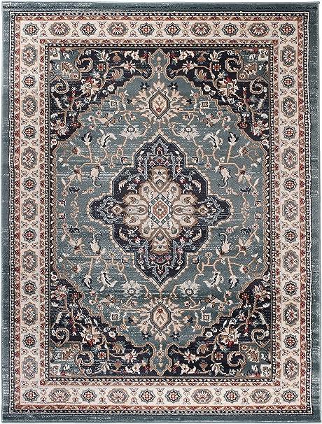 Carpeto Rugs Tapis Salon Bleu 60 x 100 cm Oriental/Ayla Collection