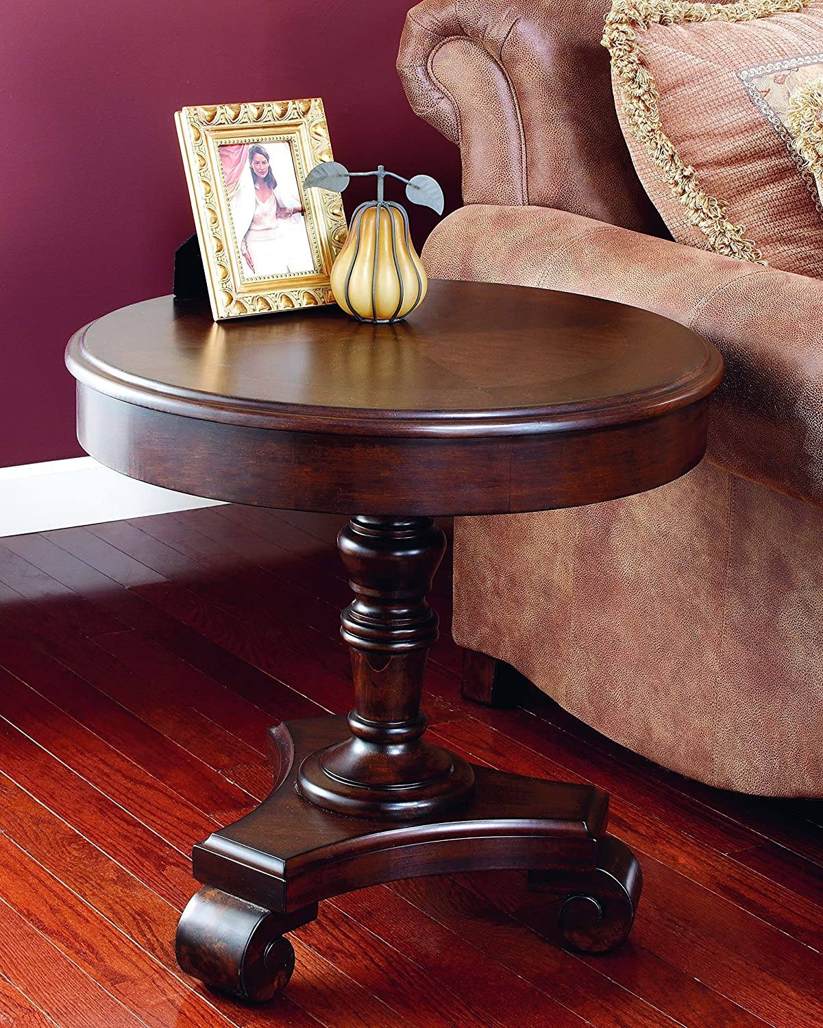 Ashley Furniture Signature Design - Brookfield Old World Rustic End table - European Style - Round - Dark Brown