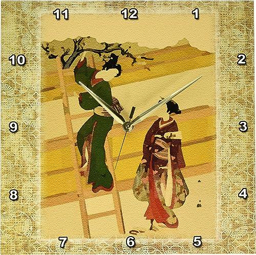 3dRose DPP_38119_2 Japanese Ladies on Vintage Oriental Background Wall Clock, 13 x 13