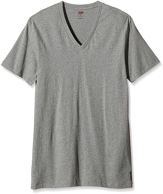 Levis 200Sf V-Neck 2P Camiseta Interior, Hombre, Gris (Middle Grey Melange