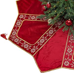Valery Madelyn 48 inch Luxury Red Gold Octagon Velvet Christmas Tree Skirt Decorations with Embroidery Patchwork and Tassels, Themed with Christmas Tree Decor (Not Included)