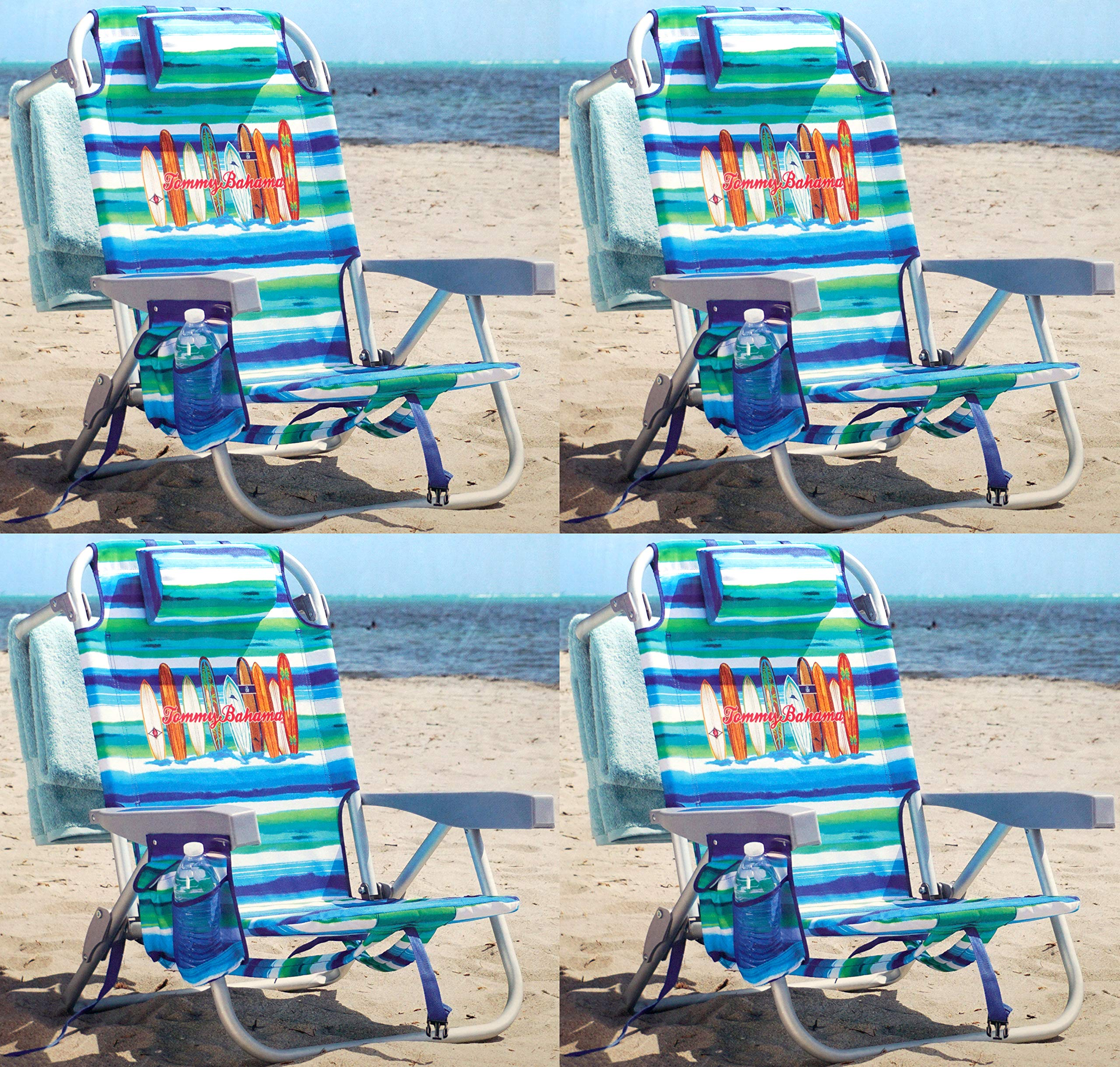 Tommy Bahama Backpack Chair - Insulated Cooler Pouch - 5 Positions (4 Ocean Stripes)